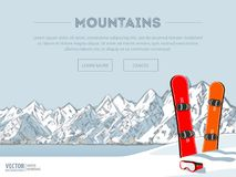 Winter sport objects. Two red snowboards. Mountains in winter season. Ski resort season is open. Ski lift. Winter web Stock Images