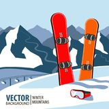 Winter sport objects. Two red snowboards. Mountains in winter season. Vector background. Stock Images