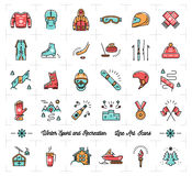 Winter sport outline icons, recreation and fun, ski, snowboarding, skating Stock Photos