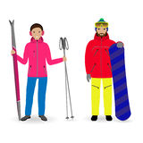 Winter sport people. Man with a snowboard and woman with skis isolated on a white background. Couple of male and female sportsmen. Flat style vector Royalty Free Stock Images