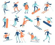 Winter sport people. Sportsman on snowboard, skis or ice skates. Snowboarding, skiing and skating sports isolated flat stock illustration