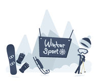 Winter sport poster design Royalty Free Stock Photo
