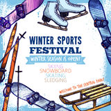 Winter Sport Poster. Winter sport festival promo poster with hand drawn equipment vector illustration Royalty Free Stock Photos
