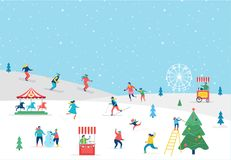 Winter sport scene greeting card. Winter sport scene, Christmas street event, festival and fair, with people, families make fun Stock Images