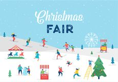 Winter sport scene greeting card. Winter sport scene, Christmas street event, festival and fair, with people, families make fun Royalty Free Stock Photos