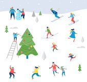 Winter sport scene,  with people having fun. Winter sport scene, Christmas street event, festival and fair, with people, families make fun Royalty Free Stock Photography