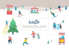 Winter sport scene greeting card. Winter sport scene, Christmas street event, festival and fair, with people, families make fun Royalty Free Stock Images