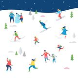 Winter sport scene,  with people having fun. Winter sport scene, Christmas street event, festival and fair, with people, families make fun Stock Images