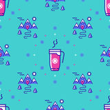 Winter sport seamless pattern, landscape repeat background, hot drinks icons Stock Image