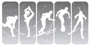 Winter sport silhouettes. On an abstract background Royalty Free Stock Photo