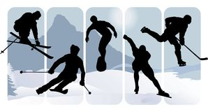Winter sport silhouettes. On an abstract background Royalty Free Stock Photos