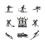 Winter sport silhouettes collection. Isolated on white Royalty Free Stock Image