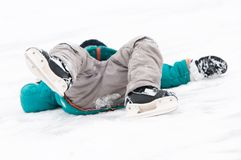 Winter sport skating injury Stock Photos