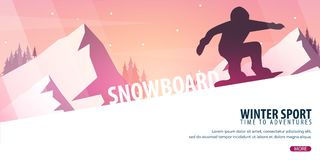 Winter Sport. Ski and Snowboard. Mountain landscape. Snowboarder in motion. Vector illustration. Winter Sport. Ski and Snowboard. Mountain landscape Royalty Free Stock Image