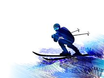 Winter sport.Skiing man. Vector illustration. Winter sport. Man skiing, jumping. Colourful vector illustration. Blue silhouette of the skier Royalty Free Stock Photo