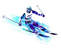 Winter sport.Skiing man. Vector illustration. Winter sport. Man skiing, jumping. Colourful vector illustration. Blue silhouette of the skier Royalty Free Stock Photos