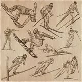 Winter Sport. Skiing and snowboarding. An hand drawn pack. Royalty Free Stock Photos