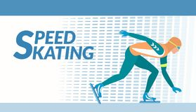 Winter sport - Speed skating. The skater moves with high speed on the ice rink. Vector illustration EPS-8 Stock Photo