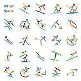 Winter Sport Stick Figures. Set of 24 colorful stick figures of winter sports featured in the Olympic games. Graphics are grouped and in several layers for easy Stock Photo