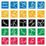 Winter Sport Stick Figures. Set of 24 colorful stick figures of winter sports featured in the Olympic games. Graphics are grouped and in several layers for easy Stock Photography