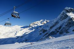 Winter sport in swiss Alps stock photography