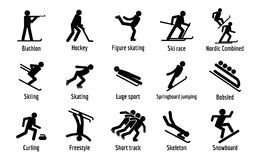 Winter sport symbols icons set, simple style. Winter sport symbols icons set. Simple illustration of 15 winter sport symbols vector icons for web Stock Photos