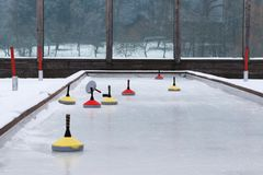 Curling cone on a rink royalty free stock image