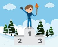 Winter sport theme with man and torch on stand. Illustration Royalty Free Stock Photos