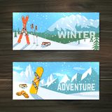 Winter sport tourism banners set Stock Images