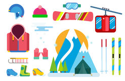 Winter sport vector icons set ski snowboarding clothes tool elements helmet glove boots element item illustration Royalty Free Stock Image