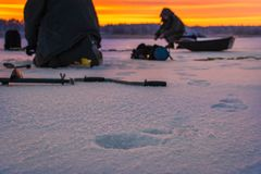 Winter sport ice fishing royalty free stock image