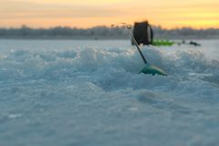 Winter sport ice fishing stock image