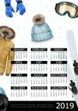 Winter Sport 2019 Year Calendar Poster stock illustration