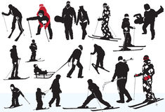 Winter sports. People on the snow, silhouette, winter sports Stock Photography