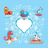 Winter sports. Animals represent different winter sports Royalty Free Stock Image