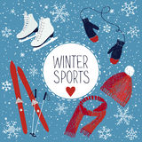 Winter sports and activities. Vector illustration about winter sports and activities Stock Images