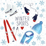 Winter sports and activities. Vector illustration about winter sports and activities Royalty Free Stock Photos