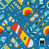 Winter Sports and Activity Seamless Pattern Background Royalty Free Stock Photo