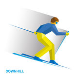 Winter sports - alpine skiing. Cartoon skier running downhill Royalty Free Stock Photos