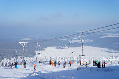Winter sports area in the Ore Mountains Stock Photo