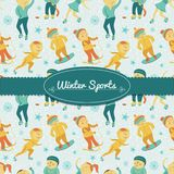 Winter Sports background with children, vector. Illustration in doodle style with ribbon and label for  text Royalty Free Stock Image