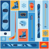 Winter sports background with equipment flat icons Royalty Free Stock Images
