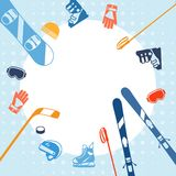Winter sports background with equipment flat icons Stock Images