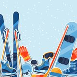 Winter sports background with equipment sticker Royalty Free Stock Images