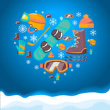 Winter Sports background with snowboard equipment Royalty Free Stock Photography
