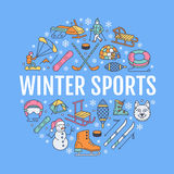Winter sports banner, equipment rent at ski resort. Vector line. Icon of skates, hockey sticks, sleds, snowboard, snow tubing hire. Cold season outdoor vector illustration