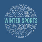 Winter sports banner, equipment rent at ski resort. Vector line icon of skates, hockey sticks, sleds, snowboard, snow Stock Photography