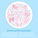 Winter sports banner, equipment rent at ski resort. Vector line icon of skates, hockey sticks, sleds, snowboard, snow. Tubing hire. Cold season outdoor Royalty Free Stock Photography