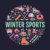 Winter sports banner, equipment rent at ski resort. Vector line icon of skates, hockey sticks, sleds, snowboard, snow. Tubing hire. Cold season outdoor Royalty Free Stock Images