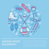 Winter sports banner, equipment rent at ski resort. Vector line icon of skates, hockey sticks, sleds, snowboard, snow Stock Image